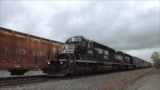 getlinkyoutube.com-SD40-2 action NS 3362 meets 66X , 4 locomitives on Norfolk Southern 323