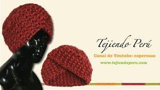 getlinkyoutube.com-Cómo tejer un gorro tipo turbante en ganchillo tunecino (o cualquier técnica!)