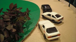getlinkyoutube.com-頭文字D コマ撮り#1 Initial D toy cars イニシャルD 拓海 vs 啓介、毅、涼介