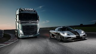 getlinkyoutube.com-Volvo Trucks - Volvo Trucks vs Koenigsegg: a race between a Volvo FH and a Koenigsegg One:1