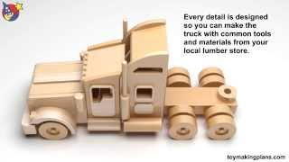 getlinkyoutube.com-Wood Toy Plans - Famous Kenworth Semi Truck and Trailer