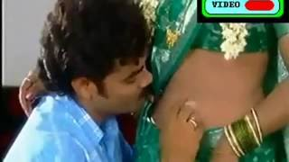 Aunty navel touch and smooch