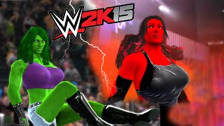getlinkyoutube.com-SHE HULK VS RED SHE HULK - DIVAS CHAMPIONSHIP MATCH - WWE 2K15