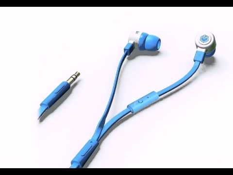 MQbix MQGT26BLU Talking AeroFones Flat Cable Earphones with Mic, Blue