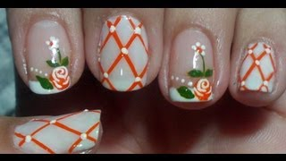 getlinkyoutube.com-Unhas decoradas com Rosas Alaranjadas Manual Bela e Simples