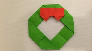 getlinkyoutube.com-簡単おりがみ クリスマスリース  origami  Christmas Wreath