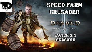 Fastest Crusader Speed Farming - LoN Bombardment / Horsey Build | Diablo 3, Patch 2.4, Season 5