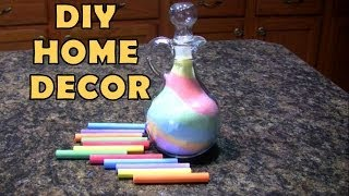 getlinkyoutube.com-DIY Inexpensive Home Decor Ideas: Salt & Chalk Colorful Glass Vase