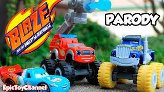 getlinkyoutube.com-BLAZE AND THE MONSTER MACHINES, Disney Cars Toy McQueen Paw Patrol Marshall Fire Truck Blaze IRL