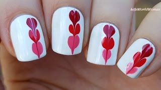 NEEDLE NAIL ART #17 - Valentine's Day Drag Marble Heart Nails Design