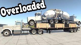 getlinkyoutube.com-BeamNG Drive - Overloaded Semi Truck + Flatbed Trailer