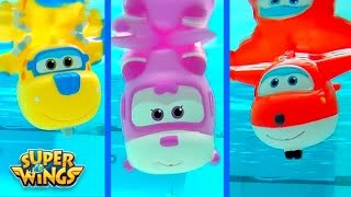 getlinkyoutube.com-Super Wings 출동슈퍼윙스 신제품 장난감 mini Planes Squirt Bath Water Underwater Toys by Disney Collector