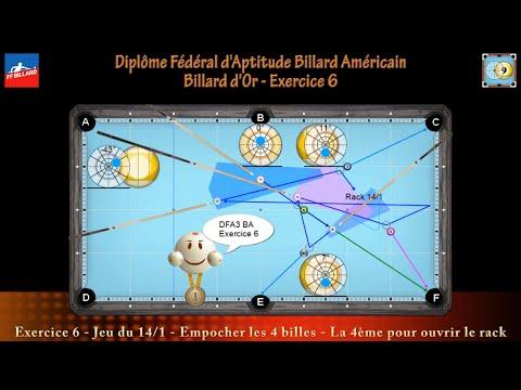 Diplôme Fédéral d'Aptitude Billard Américain - Billard d'Or - DFA3 BA - Exercice 6