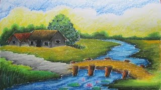 Pastel Tutorial | How to Draw a Village Landscape with Oil Pastels | Episode-9