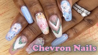 Chevron Nails w/ 3D Acrylic Flowers | Acrylic Nails | LongHairPrettyNails