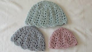 getlinkyoutube.com-How to crochet an easy shell stitch hat - all sizes (baby to adult)
