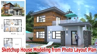Sketchup House Modeling Drawing from photo layout plan