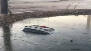 Un conductor estrelló su coche contra un estanque cerca del Aeropuerto de Kansas City