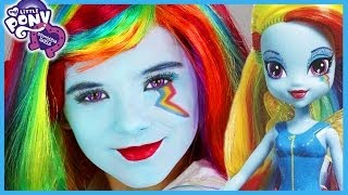 getlinkyoutube.com-My Little Pony Rainbow Dash Makeup Tutorial!  Equestria Girl Doll Cosplay | Kittiesmama