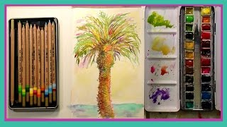 Watercolor Palm Tree with Colored Pencil & Jane Davenport Journal First Impression