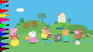 getlinkyoutube.com-Peppa Pig New House And Hello Kitty Friends Coloring Book Pages Videos for Kids Compilation