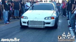 getlinkyoutube.com-Mitsubishi Evo with bolt ons vs Turbo K20 Civic Hatch