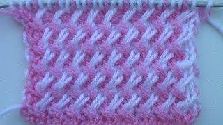 getlinkyoutube.com-Двухцветный узор из наклонных петель