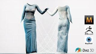 getlinkyoutube.com-Marvelous Designer 5 - Time Lapse  - Experiment with Pattern - Dress Not Disney Frozen Elsa
