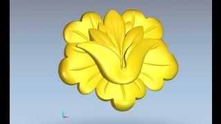 ArtCAM  flower. ArtCAM моделирование цветка.