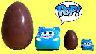 getlinkyoutube.com-Cars Dinoco Lightning McQueen Funko Pop SDCC Giant Kinder Surprise Maxxi Eggs Play Doh Huevos