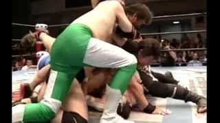 getlinkyoutube.com-【※モノマネです】旧全日本vs旧新日本6人タッグ・試合編
