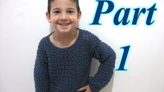 getlinkyoutube.com-Simple Pull Over Sweater Part 1 - Crochet Tutorial (Beginner unisex sweater)