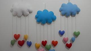 getlinkyoutube.com-Mobile nuvem e corações em feltro - PAP