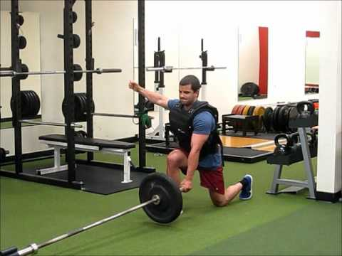 Landmine Reverse Lunges