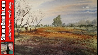 getlinkyoutube.com-How to paint a simple meadow with watercolours