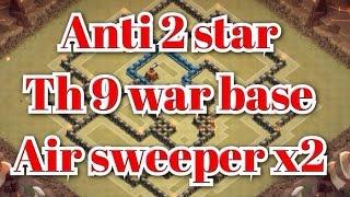 getlinkyoutube.com-Clash of Clans - Best TH9 War Base 2 Air Sweeper Anti 2 stars Gowipe | Lavaloon | Hog rider