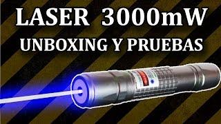 getlinkyoutube.com-Laser Azul Ultra Potente 3000mW - Unboxing y Pruebas (Experimentar En Casa)