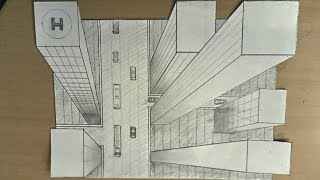 getlinkyoutube.com-How to draw - one point perspective, 3d illusion, high-rise buildings