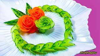 getlinkyoutube.com-Lovely Cucumber & Carrot Rose Flower Design - Fruit & Vegetable Carving & Cutting Garnish