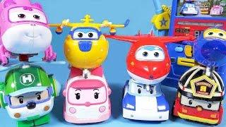getlinkyoutube.com-Robocar Poli SuperWings TOBOT car toys transformers gas station