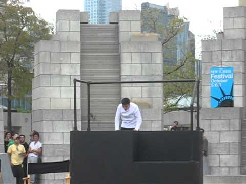 David Belle Parkour Jump & Back Flip Outside Jacob Javitz Center New York City