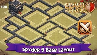 getlinkyoutube.com-Clash Of Clans: TH9 | BEST Clan War Base Layout - Spyder 9