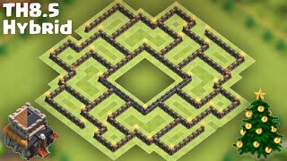 getlinkyoutube.com-Town Hall 8.5 (TH8.5 with Air Defense/All Storages/Queen) Hybrid Base [Farming after Big Update]