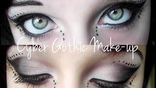 getlinkyoutube.com-Black & white Cyber Goth make-up tutorial