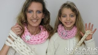 getlinkyoutube.com-DIY Learn How To Easy Arm Knitting & Finger Knitting Knit Arms Fingers Inifinty Scarf Cowl Beginner