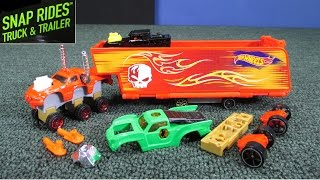 getlinkyoutube.com-Hot Wheels Snap Rides Truck Trailer Testing Single Bone Shaker Pack Too