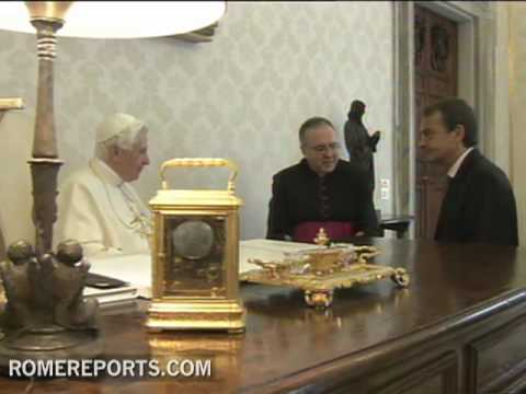 Benedict XVI talks with Zapatero about protecting life  religious freedom and Cuba