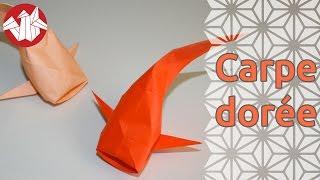 getlinkyoutube.com-Origami - Carpe dorée - Koi Carp [Senbazuru]