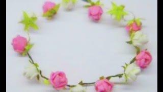 getlinkyoutube.com-DIY How to make Rose Tiara / headband