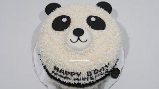 WITHOUT NOZZLE ! How to Make Birthday Cake Easy Panda - Cara Membuat Kue Ulang Tahun Yang Mudah width=